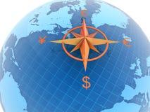 Globo con símbolos de dinero en circulación ilustración del vector