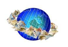 Globo con soldi intorno fotografie stock libere da diritti