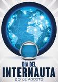 Globo conectado a través de la red y del astronauta Helmet para el día del Internaut, ejemplo del vector Imagen de archivo