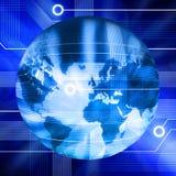 Globo connesso del mondo di tecnologia Immagini Stock
