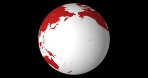 Globo contínuo de giro, hemisfério Norte, dando laços, com canal alfa, em 4k 30fps filme