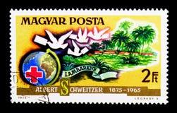 Globo, Cruz Roja, pidgeons del portador, ser del doctor Albert Schweitzer Fotografía de archivo