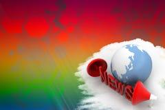 globo 3D com notícia e megafone da palavra Imagens de Stock Royalty Free