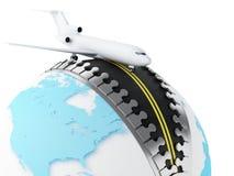 globo 3d com o avião na parte superior Imagens de Stock