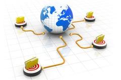 globo 3d com rede de diversos dobradores Imagem de Stock