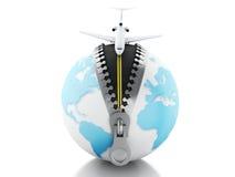 globo 3d con el aeroplano en el top Fotografía de archivo