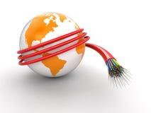 globo 3d con el cable óptico de la fibra Foto de archivo