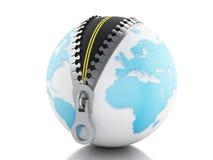 globo 3d con la cremallera abierta y el camino dentro Imagen de archivo libre de regalías