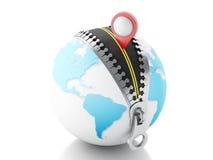 globo 3D con la cremallera abierta y un indicador del mapa Imágenes de archivo libres de regalías