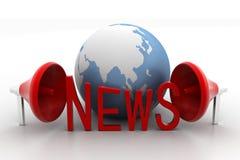 globo 3D con noticias y el megáfono de la palabra Fotografía de archivo libre de regalías