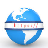 globo 3d e protocollo di comunicazione sicuro di web Immagine Stock Libera da Diritti