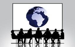Globo 3D, grupo de personas en la reunión, negocio grande de la tierra de la pantalla stock de ilustración