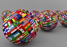 Globo da bandeira com as bandeiras de país diferentes Foto de Stock Royalty Free