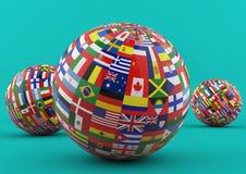 Globo da bandeira com as bandeiras de país diferentes Foto de Stock