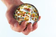 Globo da colagem da culinária do mundo Imagem de Stock