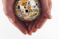 Globo da colagem da culinária do mundo Fotos de Stock