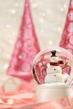 Globo da neve com árvores cor-de-rosa Fotos de Stock Royalty Free