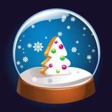 Globo da neve com o interior da árvore de abeto do Natal isolado no fundo escuro Bola da mágica do Natal Ilustração de Snowglobe  Fotografia de Stock Royalty Free