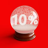 Globo da neve com título de um disconto de 10 por cento para dentro Foto de Stock Royalty Free