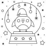 Globo da neve com um pássaro Página da coloração Ilustração preto e branco do vetor ilustração royalty free