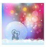 Globo da neve do Natal com fogos de artifício e flocos de neve ilustração do vetor