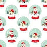 Globo da neve do Natal com neve de queda, a casa bonito, a árvore de Santa Claus, do Xmas e teste padrão sem emenda dos cervos Fotos de Stock