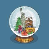 Globo da neve do Natal de New York Cidade da garatuja ilustração do vetor