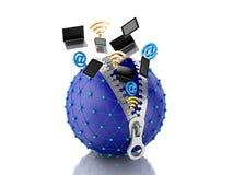 globo da rede 3d com zíper Conceito da rede Fotos de Stock Royalty Free