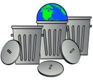 Globo da terra arrendada da lata de lixo Imagens de Stock Royalty Free