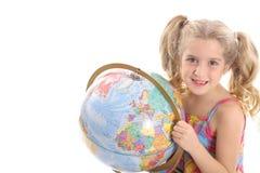 Globo da terra arrendada da menina Foto de Stock Royalty Free