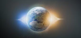 globo da terra das partículas da rendição 3d Fotografia de Stock