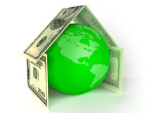 Globo da terra dentro da casa feita por dólares Imagens de Stock Royalty Free
