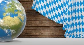 Globo da terra do planeta da bandeira de Baviera 3D-Illustration Elementos do th Imagens de Stock Royalty Free