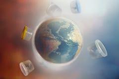 Globo da terra do planeta cercado por garrafas e pelo lixo plásticos O conceito da ecologia e da poluição ambiental Azul e vermel ilustração do vetor