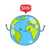 Globo da terra dos desenhos animados com mensagem do SOS ilustração do vetor