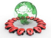 Globo da terra e mouses sem fio Imagem de Stock Royalty Free