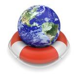 Globo da terra em lifebuoy ilustração stock