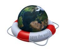 Globo da terra no boia salva-vidas sobre o branco Fotos de Stock