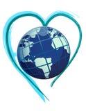 Globo da terra sobre um projeto da ilustração do coração da escova Fotografia de Stock Royalty Free
