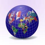Globo das bandeiras com mapa de mundo Fotos de Stock