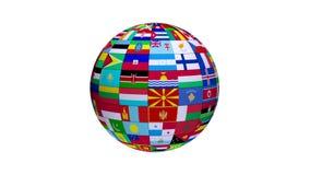 Globo de colocación y giratorio con todas las banderas de países del mundo con el fondo blanco