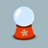 Globo de cristal del invierno vacío con los copos de nieve Plantilla de Navidad ilustración del vector