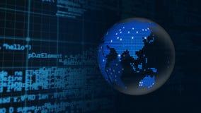 Globo de Digitas com códigos da relação vídeos de arquivo