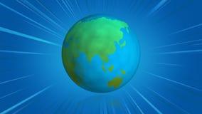 Globo de giro de la tierra con las líneas azules de los tebeos ilustración del vector