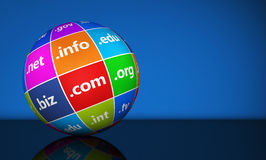 Globo de la muestra de los Domain Name del sitio web Fotografía de archivo