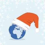 Globo de la Navidad del asunto con el casquillo de Santa Imágenes de archivo libres de regalías