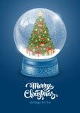 Globo de la nieve con el árbol de navidad stock de ilustración