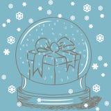 Globo de la nieve con el rectángulo de regalo adentro libre illustration