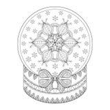Globo de la nieve de Chriatmas del zentangle del vector con la escama de la nieve Drenaje de la mano Libre Illustration