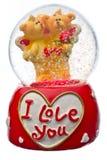 Globo de la nieve del día de tarjeta del día de San Valentín Imagen de archivo